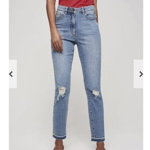 Long Tall Sally Ripped Mom Ankle Grazer Jean